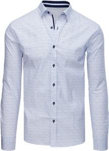 Niebieska koszula Dstreet z bawełny z długim rękawem z kołnierzykiem button down