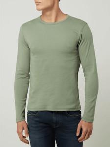 Zielona koszulka z długim rękawem Montego w stylu casual z długim rękawem z bawełny