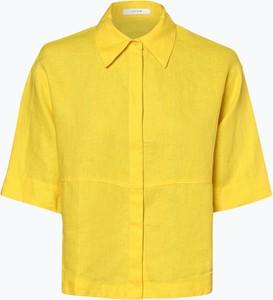 Żółta koszula Opus z kołnierzykiem z krótkim rękawem
