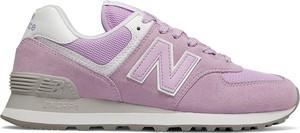 Różowe buty sportowe New Balance w sportowym stylu z płaską podeszwą sznurowane