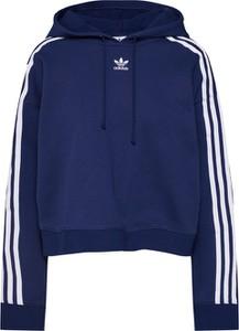 Niebieska bluza Adidas Originals krótka w sportowym stylu