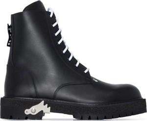 Czarne buty zimowe Off White ze skóry w stylu casual