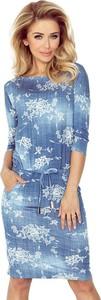 Niebieska sukienka NUMOCO w stylu casual z długim rękawem midi