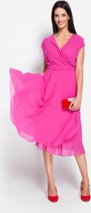Różowa sukienka Molton z dekoltem w kształcie litery v midi