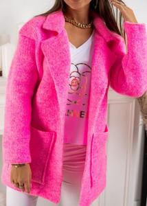 Różowy sweter Fason w stylu casual z wełny