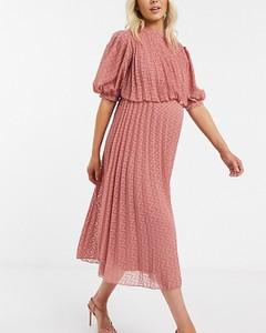 ASOS DESIGN Maternity – Różowa plisowana sukienka midi ze wzorem w jodełkę-Różowy