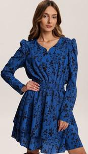 Niebieska sukienka Renee mini z długim rękawem z dekoltem w kształcie litery v