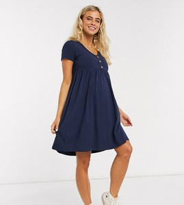 Mama Licious Mamalicious Maternity – Granatowa sukienka nad kolano z guzikami-Niebieski