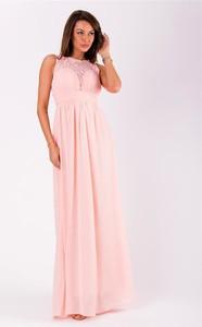 Różowa sukienka Eva&Lola maxi bez rękawów