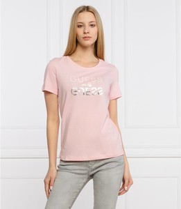 Różowy t-shirt Guess z bawełny z krótkim rękawem