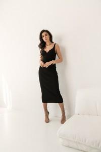 Sukienka Lorenzo maxi dopasowana z dekoltem w kształcie litery v