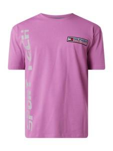 Różowy t-shirt Tommy Jeans z bawełny z krótkim rękawem