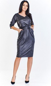 Sukienka A&i Moda midi z długim rękawem