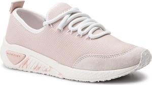 Różowe buty sportowe Diesel ze skóry ekologicznej sznurowane w sportowym stylu