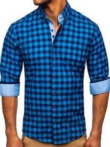 Niebieska koszula Denley z kołnierzykiem button down w stylu casual z bawełny