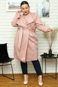 Różowy płaszcz KARKO z zamszu