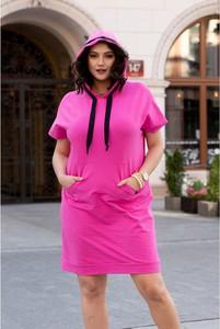 Różowa sukienka Sklep XL-ka z bawełny