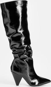 Czarne kozaki Kazar ze skóry