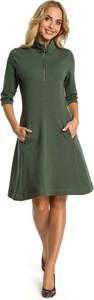 Sukienka MOE z długim rękawem z bawełny trapezowa