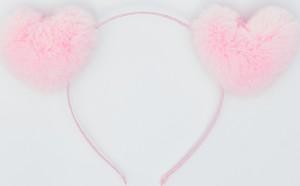 Sinsay - Opaska z pluszowymi sercami - Różowy