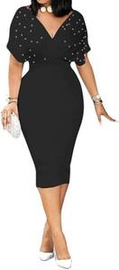 Czarna sukienka Arilook z krótkim rękawem ołówkowa z dekoltem w kształcie litery v