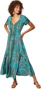 Zielona sukienka Aller Simplement z krótkim rękawem z dekoltem w kształcie litery v