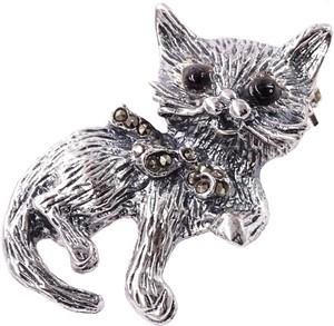 Braccatta KITTY Srebrna broszka z markazytami kotek