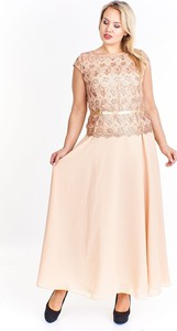 Sukienka Fokus dla puszystych z okrągłym dekoltem bez rękawów