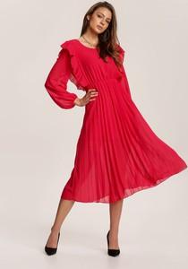 Czerwona sukienka Renee z długim rękawem midi
