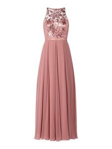 Różowa sukienka V.m. z dekoltem halter rozkloszowana z satyny