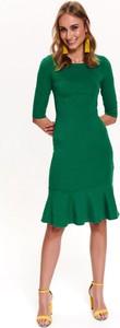 Sukienka Top Secret dopasowana z długim rękawem z okrągłym dekoltem