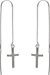 Valerio Delikatne długie przewlekane srebrne wiszące kolczyki krzyżyk krzyż cross srebro 925 K1723