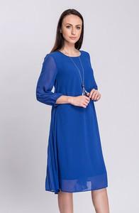 Niebieska sukienka Semper midi z długim rękawem