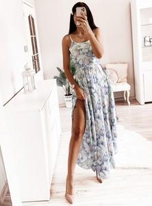 Sukienka Pakuten maxi z okrągłym dekoltem na ramiączkach