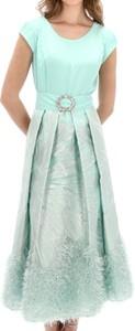 Turkusowa sukienka L'AF z krótkim rękawem z okrągłym dekoltem