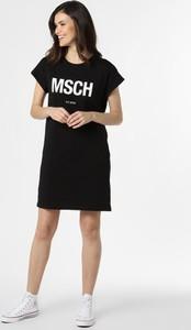 Czarna sukienka Moss Copenhagen z okrągłym dekoltem z bawełny mini