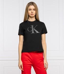 Czarny t-shirt Calvin Klein z okrągłym dekoltem w młodzieżowym stylu