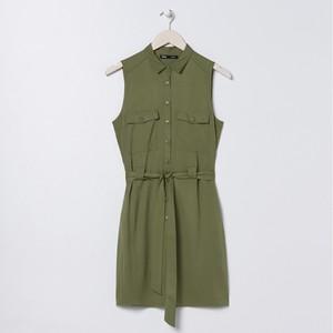 Zielona sukienka Sinsay szmizjerka z kołnierzykiem