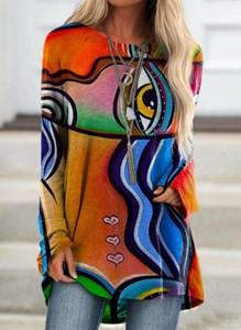 Bluzka Cikelly w stylu casual z okrągłym dekoltem z długim rękawem
