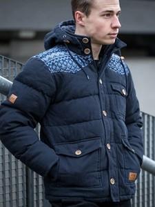 Granatowa kurtka Wrung Division z bawełny w rockowym stylu