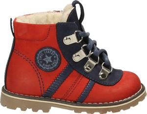 Czerwone buty dziecięce zimowe EMEL z nubuku