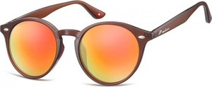 Stylion Okulary okragle brazowe lenonki lustrzane MS20E