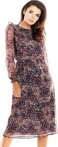 Sukienka Awama z szyfonu z okrągłym dekoltem w stylu casual