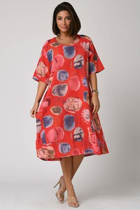 Sukienka Plus Size Fashion z okrągłym dekoltem midi