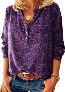 Fioletowa bluzka Cikelly z długim rękawem
