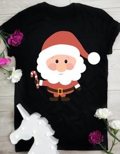 Czarna bluzka Time For Fashion w bożonarodzeniowy wzór z bawełny z krótkim rękawem