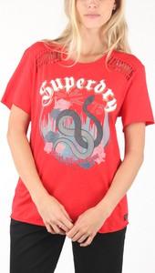 Bluzka Superdry z bawełny w młodzieżowym stylu z okrągłym dekoltem