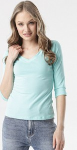 Niebieska bluzka born2be w stylu casual z długim rękawem