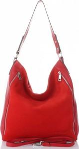 Czerwona torebka VITTORIA GOTTI ze skóry duża na ramię