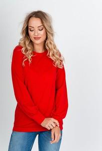 Czerwona bluzka Zoio z okrągłym dekoltem z długim rękawem